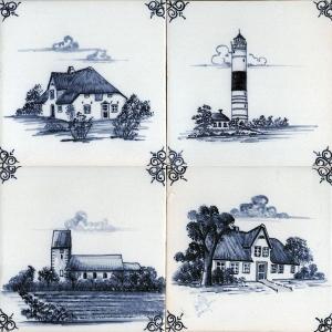Antik Bau Stawe Delfter Fliesen Nordfriesische Inseln Motive