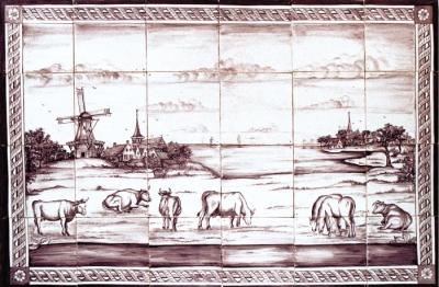 landschaften mit k hen 24 fliesen originalmotiv um 1790. Black Bedroom Furniture Sets. Home Design Ideas